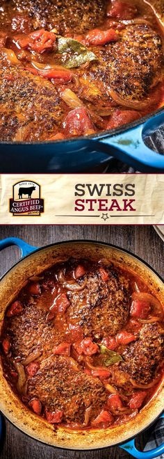 Swiss Steak is a deliciously simple dinner recipe that you can make easily at home! Season Certified Angus Beef®️️️️️️️️️ brand cubed steaks with salt and pepper, browning them on each side. Combined with tomato paste, beef broth, tomatoes, Worcestershire Crock Pot Recipes, Meat Recipes, Cooking Recipes, Beef Cube Steak Recipes, Beef Meals, Swiss Recipes, Cooking Tips, Beef Tips, Cooking Games