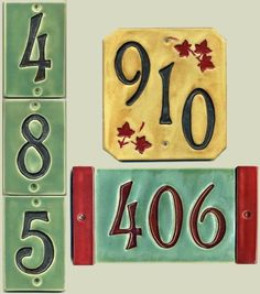 Handcrafted Three Digit Ceramic House Number Tile Craftsman Style