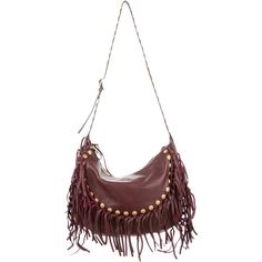 Pre-owned Valentino C-Rockee Fringe Hobo featuring polyvore, women's fashion, bags, handbags, shoulder bags, burgundy, leather man bags, leather hand bags, white leather shoulder bag, handbags shoulder bags and leather hobo purses