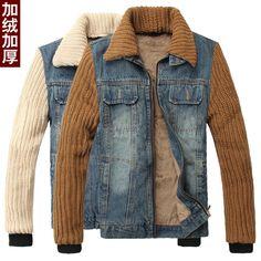 I could make this. Refashion a denim (or leather) jacket with old sweater; line with faux fur.Вязаные рукава (подборка) / Курточные переделки / ВТОРАЯ УЛИЦА