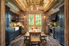 This cabinet door design would be a good one for the antique glaze finish on the natural knotty alder. Bunk House with Rustic Interiors Homey Kitchen, Rustic Kitchen Design, Rustic Farmhouse Decor, Kitchen Designs, Kitchen Ideas, Shaker Kitchen, Island Kitchen, Kitchen Cabinets, Rustic Homes