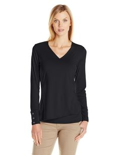 ExOfficio Women's Wanderlux Crossfront Long Sleeve, Black, Small. Moisture wicking and quick drying. Smooth, ultra-soft jersey fabric blend. Flattering v-neckline with 2-layer front. Banded cuffs with button detail.