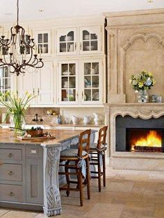 French Country Kitchen With Fireplace