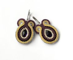 Purple and yellow soutache hand embroidered earrings by soStudio, $38.00