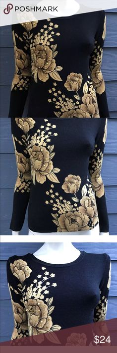 """Friendly Bear Women's Sweater Floral Jeweled Sz S Friendly Bear Women's Sweater Knit Black Yellow Floral Embellished Jeweled Stretch Sz Small  Measurements laying flat approximately: Armpit to armpit 16"""", waist 14 3/4"""", hips 15"""", length 22"""", Sleeve length 24"""".  THIS GORGEOUS SWEATER HAS BEEN GENTLY WORN AND OVERALL IS IN GREAT CONDITION! IT REALLY LOOKS-CLOSE-TO-LIKE-NEW.  NOTE:  PLEASE REVIEW MEASUREMENTS CAREFULLY BEFORE PURCHASING THIS ITEM SINCE SIZES SOME TIMES ARE DIFFERENT FROM BRAND…"""