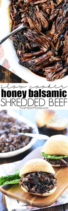 Slow Cooker Honey Balsamic Shredded Beef is a delicious, effortless, satisfying crock pot recipe perfect for busy weeknight dinners, parties, or game day! Slow Cooker Beef, Slow Cooker Recipes, Crockpot Recipes, Cooking Recipes, Chicken Recipes, Potato Recipes, Casserole Recipes, Pasta Recipes, Yummy Recipes