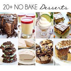 No Bake Desserts A round up of  decadent desserts that require no oven!