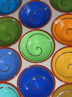spiral bowls, our town pottery, handmade earthenware- Elmira Oregon