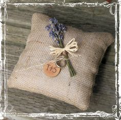 Lavender And Burlap Ring Bearers Pillow - Rustic Country Wedding - Southern Weddings - Tan, Brown, Neutral - Barn, Western, Farmstead Spring on Etsy, $20.03 AUD