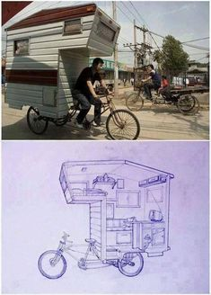 """tiny bike-trailer home: """"The mobile space, which can't be more than thirty square feet, has just enough room for a tiny kitchenette with a built-in bench, a sleeping loft and various drawers and shelves tucked into its nooks and crannies. Petite Kitchenette, Blueprint Drawing, Kombi Motorhome, Motorhome Interior, Mini Tv, Kombi Home, Tiny Trailers, Travel Trailers, Sleeping Loft"""