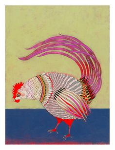 """""""Rooster"""" by Jennifer Davis. The clors are so beatiful in this and I love that she did actually get the funny look that roosters get sometimes."""