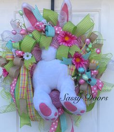 Excited to share the latest addition to my #etsy shop: Easter Wreath, Easter Wreath With Bunny, Spring Door Weath, Easter Wreaths For Front Door, Sassy Doors Wreaths,