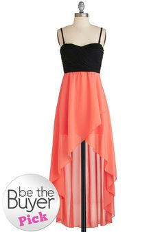 Daydreaming of Destiny Dress - Black, Coral, Cutout, Empire, High-Low Hem, Spaghetti Straps, Sweetheart, Wedding, Party, Girls Night Out