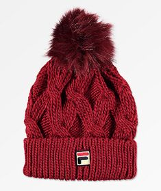 85c93a2e04d FILA Heritage Cable Knit Red Pom Beanie