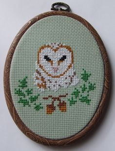 Barn Owl with Acorn Sampler Hand Sewn in Cross Stitch by MaMagasin, £28.00