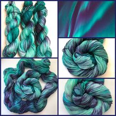 $26+ Aurora Borealis hand dyed yarn, dyed on multiple bases. Available in my Etsy shop https://www.etsy.com/listing/548216837/ready-to-ship-aurora-borealis-hand-dyed