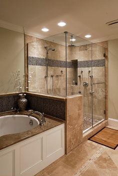 Bath tan tile Design Ideas, Pictures, Remodel and Decor