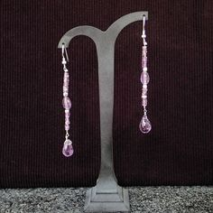 Drop earrings with amethyst & silver hooks. Dangle earrings, statement, handmade, gemstone, purple colour, for her, drop, stack earrings by Menir on Etsy