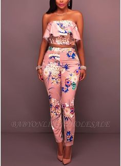 Women Pink Floral Print Strapless Ruffle Crop Top Pants Suit - S Chic Outfits, Summer Outfits, Girl Outfits, Fashion Outfits, Womens Fashion, Fashion Tips, Fashion Trends, Emo Outfits, Punk Fashion