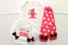1st Birthday Girl Tee and Bloomer Set  Baby Legs  by BabaWear, $30.00
