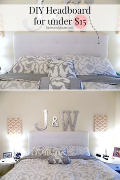SWEETTEAL.COM* DIY Headboard for under $15! Super easy to make and saves you A LOT of money! Want to know the secret of this DIY? It uses cardboard! #diyheadboard #tuftedheadboard #cheapheadboard