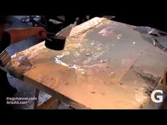 Michael David, the Jackson Pollock of encaustic, demonstrates and waxes eloquent about medium