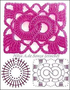 Crochet Patterns Stitches Beautiful crochet samples - with graphics Granny Square Häkelanleitung, Granny Square Crochet Pattern, Crochet Blocks, Crochet Diagram, Crochet Chart, Crochet Squares, Crochet Granny, Granny Squares, Filet Crochet