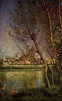 colourthysoul:    Jean-Baptiste Camille Corot - Mantes (Morning) or Cathedral of Mantes (ca. 1865)
