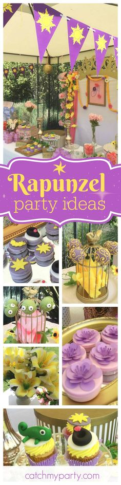 Don't miss this beautiful Rapunzel garden party. The Pascal the lizard cake pops are adorable! See more party ideas and share yours at CatchMyParty.com