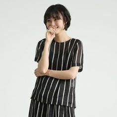 Stripes silk linen tops T shirts