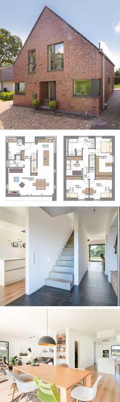 Giebelhaus Neubau modern mit Klinker Fassade & Satteldach Architektur - Haus bauen Grundriss Einfamilienhaus VARIO Bönningstedt von ECO System Haus - HausbauDirekt.de