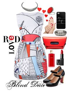 """Red"" by bejeweledemporium ❤ liked on Polyvore featuring Christian Louboutin, NARS Cosmetics, Piggy Paint, Casetify, Estée Lauder, Miss Selfridge, red, fashionset and blinddate"