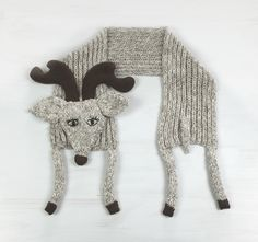 Acrylic deer scarf, antlers, funny animal scarf, winter accessory, warm soft scarves, for kids, beige brown, for animal lovers, knit crochet - pinned by pin4etsy.com