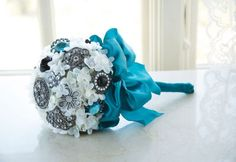 "This beautiful Brooch Bouquet has a vintage shabby chic look and is completely unique! For the bride, it could be extra special to include some of grandmothers jewelry in a bouquet like this or ""mothers pearls"". Makes a fantastic keepsake bouquet! Broach Bouquet, Wedding Brooch Bouquets, Diy Bouquet, Boquet Wedding, Diy Wedding, Wedding Events, Dream Wedding, Wedding Day, Weddings"