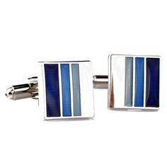 Blue Black and White Stripe Square Cufflinks