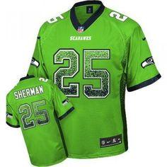 317e24ae0 Nike Seahawks  25 Richard Sherman Green Men s Stitched NFL Elite Drift Fashion  Jersey