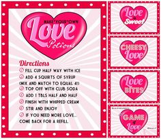 Love Potion (Italian Soda) and other #Valentines party printables. #Food Labels #Invitations.
