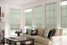Hunter Douglas Window Fashions - shades that can be fully opened, fully closed, let light in from the top or let light in from the bottom. Hunter Douglas, Window Treatments Living Room, Living Room Windows, Living Room Decor, Living Rooms, Honeycomb Blinds, Honeycomb Shades, Custom Blinds, Cellular Shades