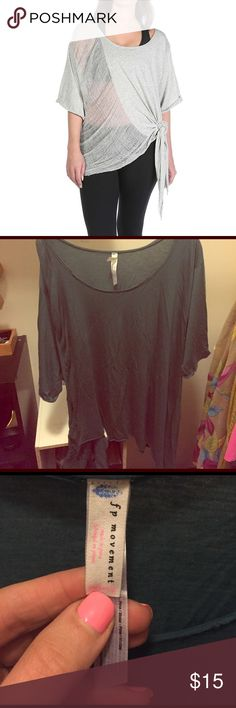 Free People movement relaxed top M/L Used free People movement blue/green slouchy top. NOTE: this is a small hole- see picture. Free People Tops Tees - Short Sleeve