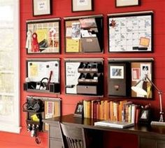 Office wall organization - like the dark wood