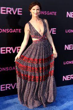 JULIETTE LEWIS plunging, flowy Diane von Furstenberg dress