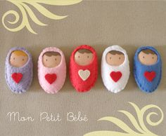 Felt Fun / felt babies - brooches to pin on new baby cards, no instructions but could be figured out Baby Born Congratulations, Idees Cate, Felt Baby, New Baby Cards, Felt Fabric, Felt Toys, Felt Ornaments, Softies, Felt Crafts
