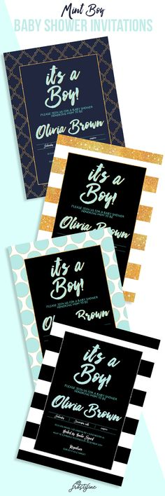 Boy baby shower invitations - mint, navy blue, black and gold. Designs available for Twin boys. Quick, easy and affordable. Same day turnaround! Shop today! Pin for later