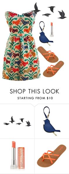 """for the birds"" by im-karla-with-a-k ❤ liked on Polyvore featuring Jayson Home, FOSSIL, Maybelline and Volcom"
