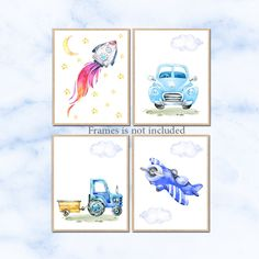 Car Nursery art , Rocket Nursery poster print, Baby Boy Nursery Decor, Children Art Print Baby Nursery Print Set of 4 Plane Tractor by irinnadesign on Etsy