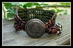 Five-Strand Leather Cuff Bracelet with Nephrite Jade Beads. $45.00, via Etsy.