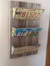 45 DIY project garage storage and organization use a palette # # . - 45 DIY project garage storage and organization use a palette # - License Plate Crafts, Old License Plates, License Plate Art, License Plate Ideas, Diy Projects Garage, Diy Pallet Projects, Diy Garage, Pallet Diy Decor, Repurposed Wood Projects