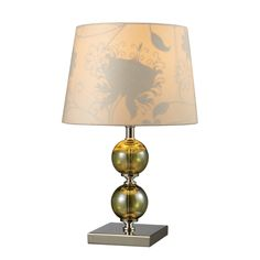 D1610, Sharon Hill collection Sharon Hill Table Lamp in Green Smoked Glass and Polished Nickel with Cream Faux Silk Shade and Patterned Fabric Liner