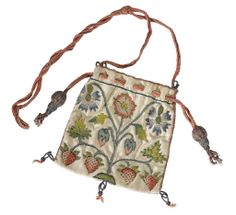 White Satin Purse featuring embroidered silk flowers & strawberries - Lined in pink silk, with pink cord drawstring - English - early 17th century