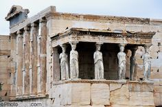 """Caryatids support the southern portico of the Erechtheion, the most sacred sanctuary on the Acropolis, in Athens, Greece, Europe. The Erechtheion and the """"Porch of the Maidens"""" was built entirely of marble between 421 and 406 BC. Between 1800 and 1803, one of the caryatids was removed by order of Lord Elgin to decorate his Scottish mansion, and was later sold to the British Museum in London (along with the pedimental and frieze sculpture taken from the Parthenon). Athenian legend had it that…"""